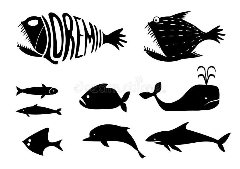 Ajuste silhuetas dos peixes ilustração do vetor