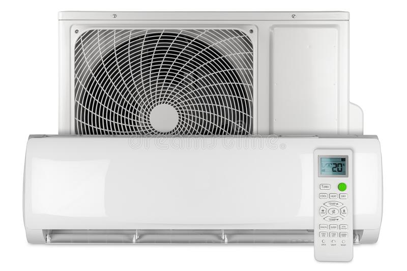 Ajuste sistema rachado da bomba de calor do inversor da C.A. do condicionador de ar do mini com unidade exterior interna e branco imagem de stock
