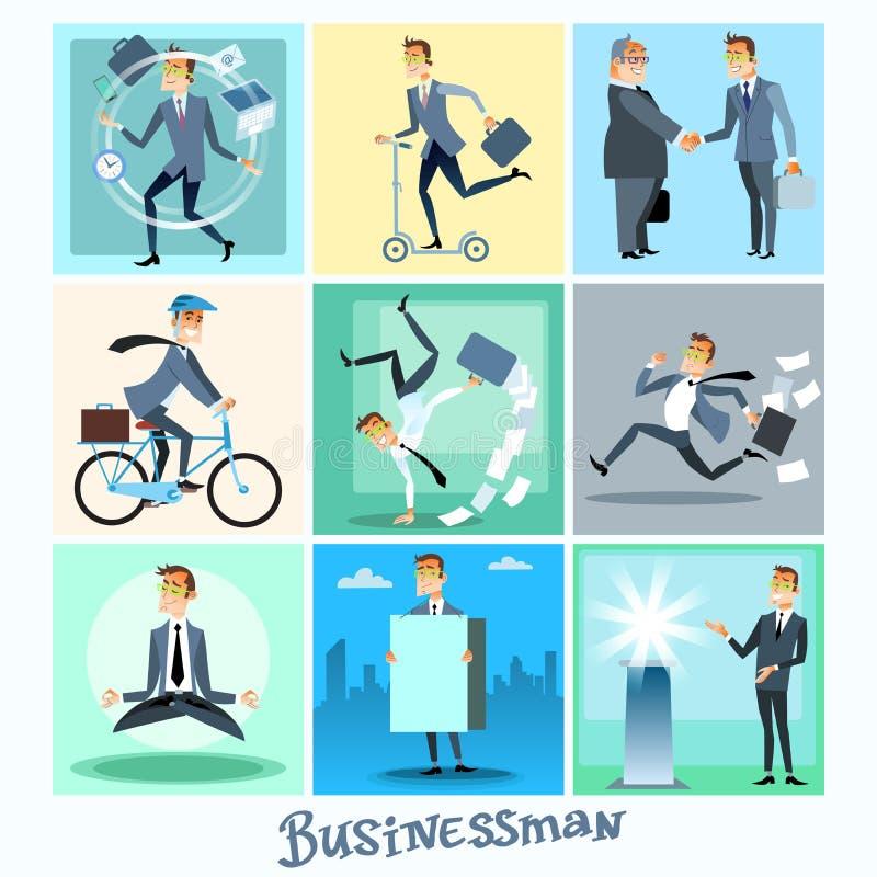 Ajuste situações de negócio da coleção do homem de negócios ilustração stock