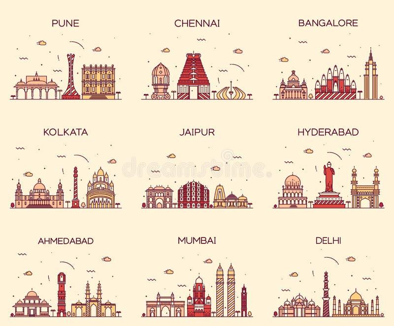 Ajuste skylines indianas Mumbai Deli Jaipur Kolkata ilustração royalty free