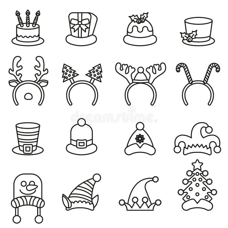 Ajuste tampões dos carnavais do Natal Chapéu de Santa Claus ilustração stock