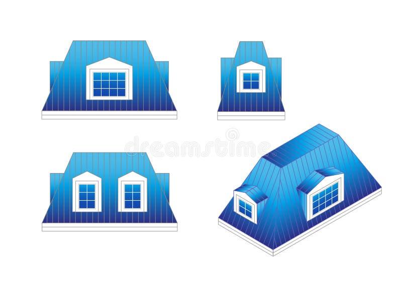 Ajuste tipos de um telhado de mansarda com ângulos diferentes Telhado de mansarda lançado com janelas de trapeira ilustração royalty free