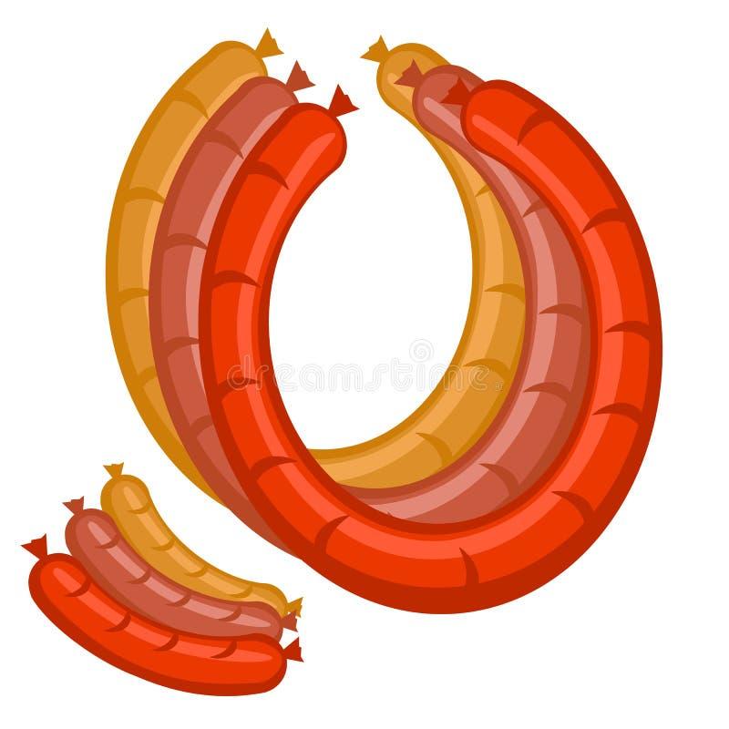 ajuste três salsichas nas cores ilustração royalty free