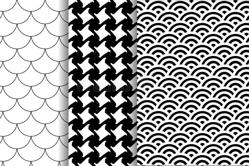 Ajuste três testes padrões Teste padrão do ` s de Pepita Pele Dalmatian Teste padrão japonês Motivo da escala de peixes ilustração stock