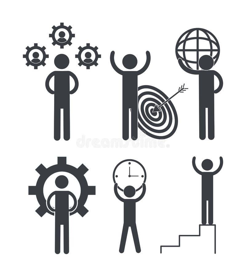 Ajuste trabalhos de equipe do negócio com engrenagens e gráfico ilustração stock