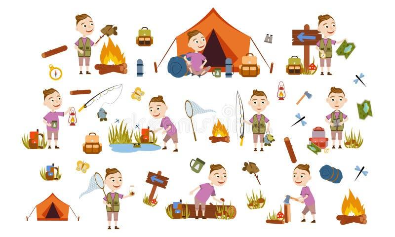 Ajuste um menino com um turista na moda do penteado na natureza acampar Pesca, durante a noite em uma barraca, escolhendo cogumel ilustração stock