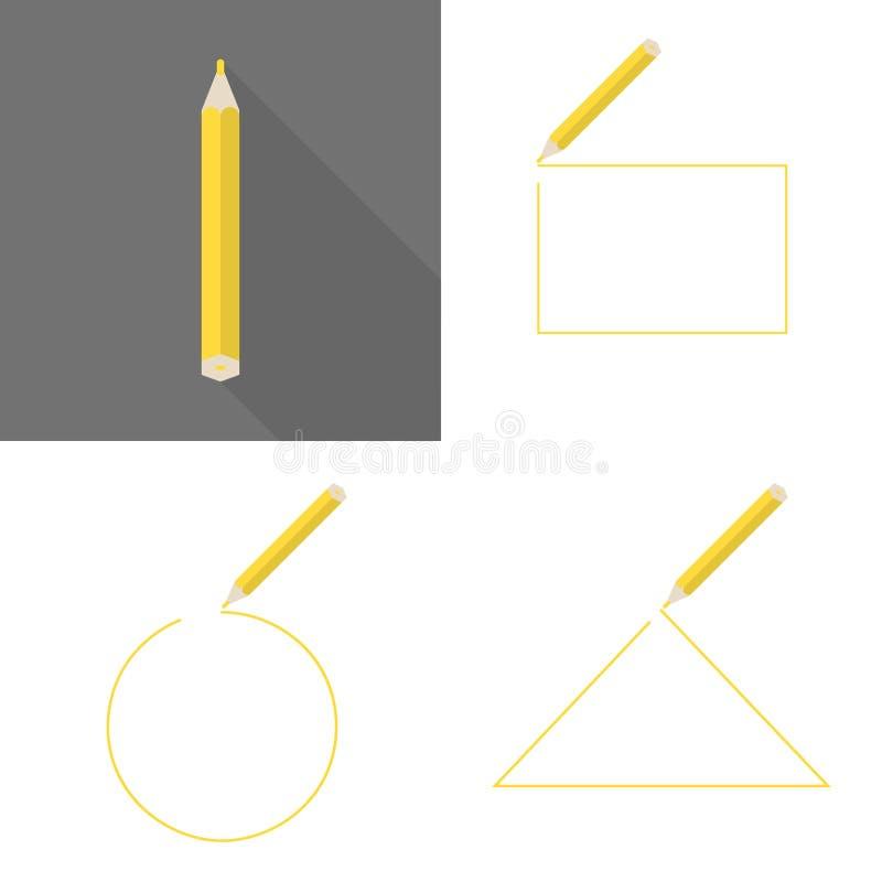Ajuste uma estrutura com lápis Quadro do círculo, o quadrado e o triangular ilustração do vetor