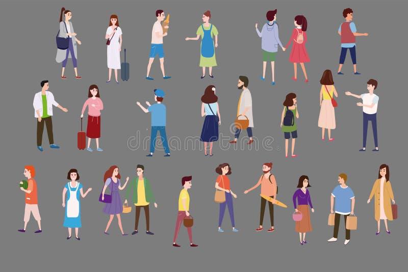 Ajuste uma multidão de caráteres dos povos para ir sobre seu negócio, faça compras, pares de amor, únicos, vendedores, compradore ilustração royalty free