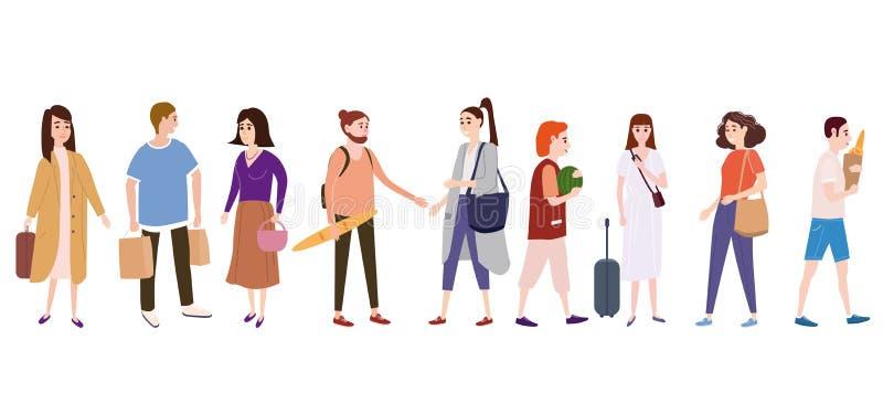 Ajuste uma multidão de caráteres dos povos para ir sobre seu negócio, faça compras, pares de amor, únicos, vendedores, compradore ilustração do vetor