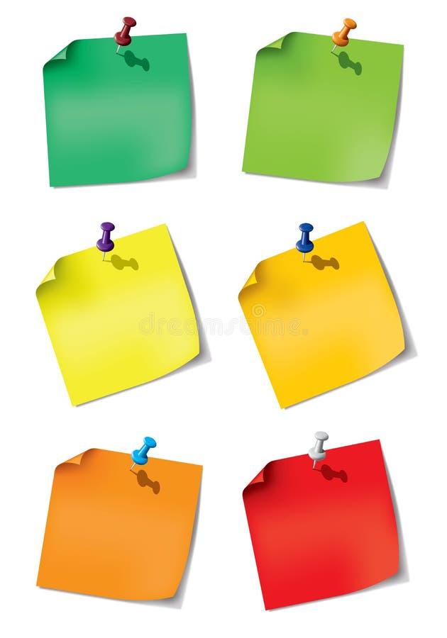Ajuste uma nota de papel com pino do impulso ilustração stock