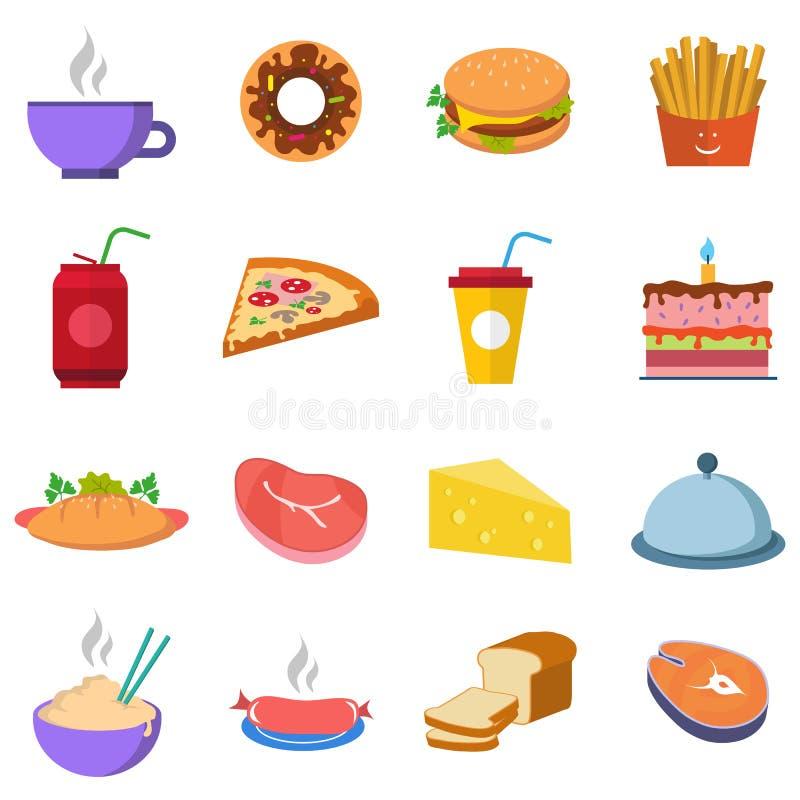 Ajuste uma variedade de fastfood do alimento, da água e da carne ilustração royalty free