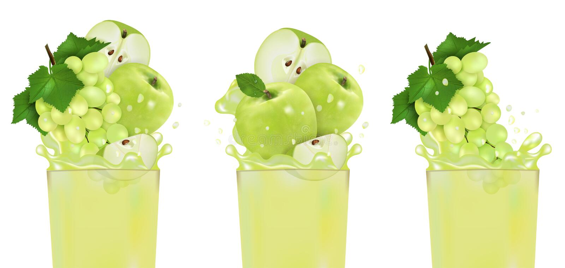 Ajuste a uva e Apple frescos do suco com respingo Ilustração realística doce do vetor do fruto 3d isolada no fundo branco pacote ilustração royalty free