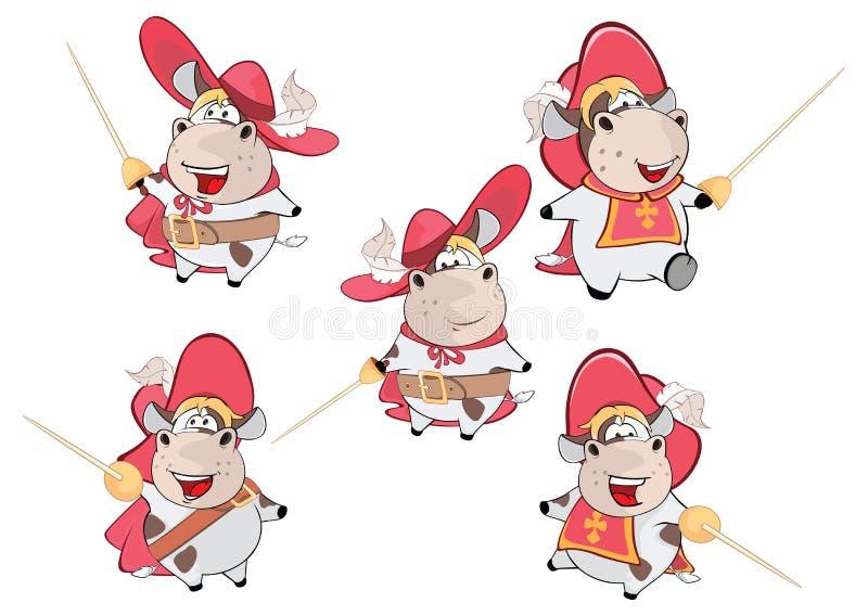 Ajuste a vaca bonito da ilustração dos desenhos animados ilustração stock