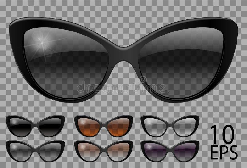 Ajuste vidros forma do olho de gato da borboleta roxo marrom preto da cor diferente transparente sunglasses gr?ficos 3D homens un ilustração royalty free