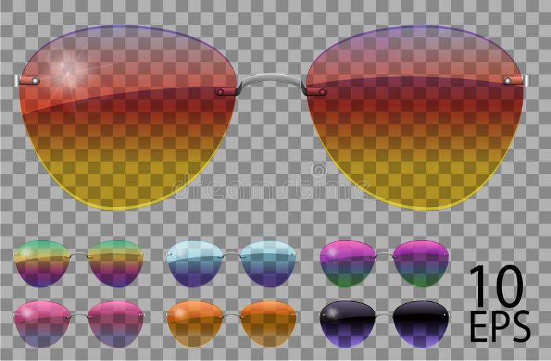 Ajuste vidros A polícia deixa cair a forma do aviador cor diferente transparente sunglasses gr?ficos 3D roxo azul do rosa do cama ilustração do vetor