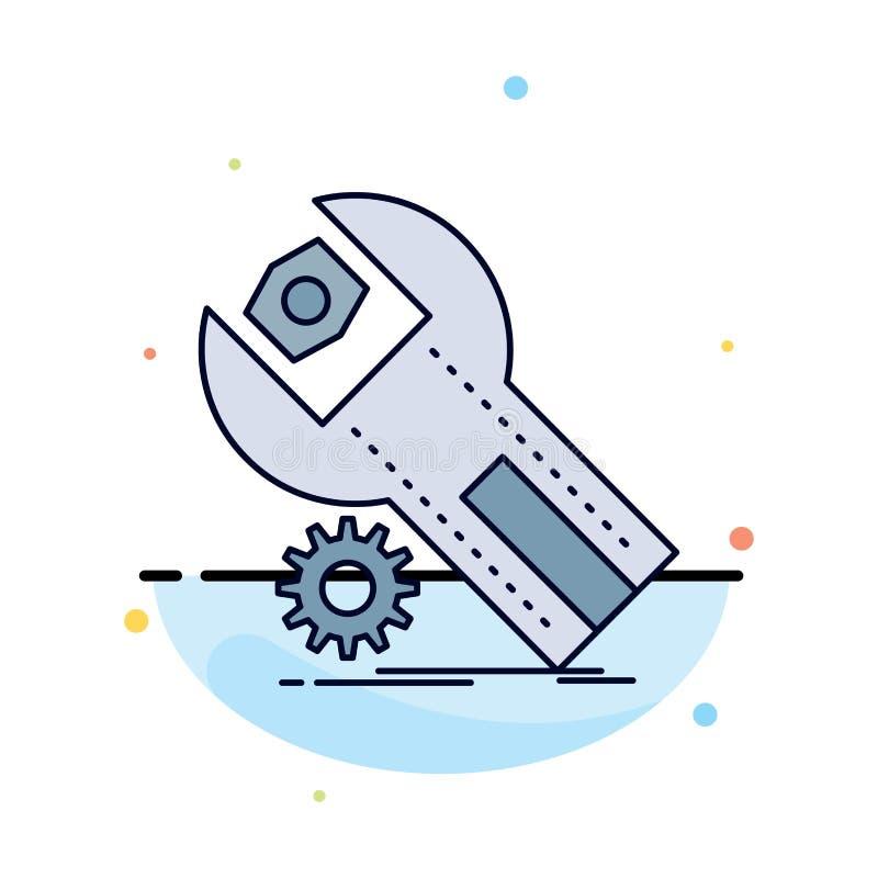 ajustes, App, a instalação, manutenção, vetor do ícone da cor do plano de serviço ilustração stock