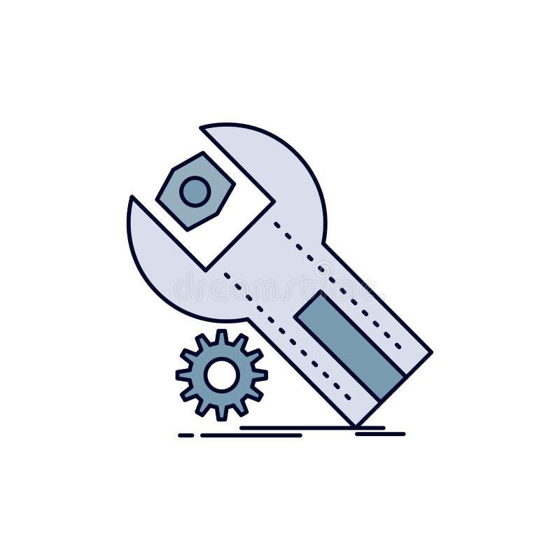 ajustes, App, a instalação, manutenção, vetor do ícone da cor do plano de serviço ilustração do vetor