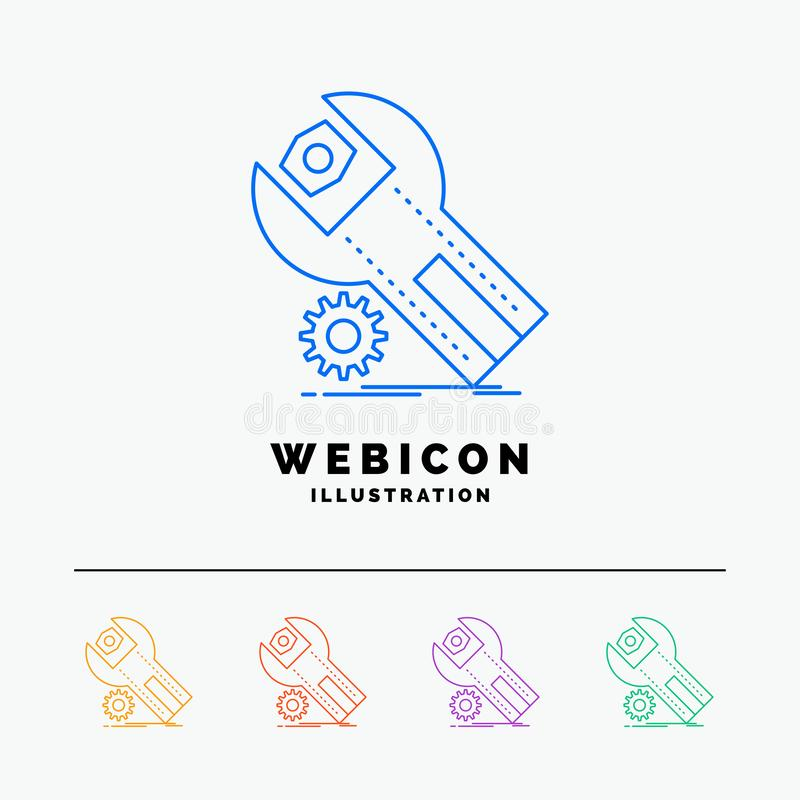 ajustes, App, instalación, mantenimiento, línea de color del servicio 5 plantilla del icono de la web aislada en blanco Ilustraci ilustración del vector