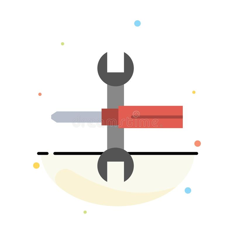 Ajustes, controles, destornillador, llave inglesa, herramientas, plantilla plana del icono del color del extracto de la llave stock de ilustración