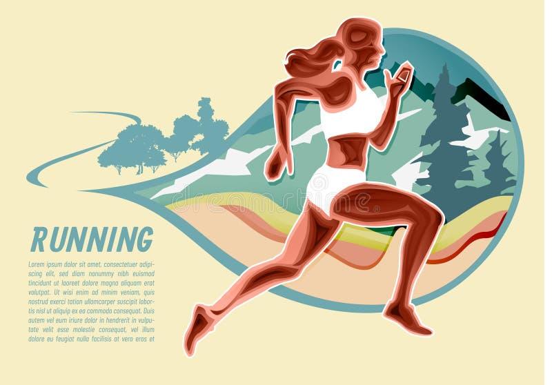Ajustes da menina do esporte e vetor running do ilustrador da fuga firme imagem de stock royalty free