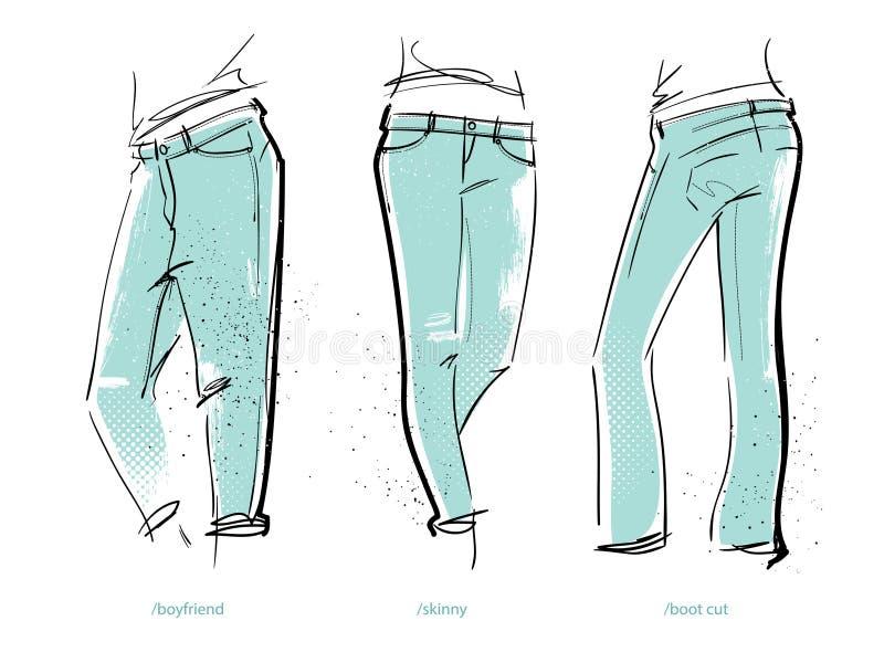 Ajustes das calças de brim do ` s das mulheres ilustração stock