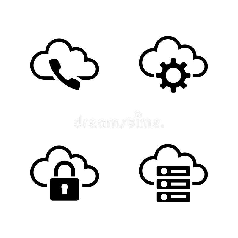 Ajustes de la nube Iconos relacionados simples del vector stock de ilustración
