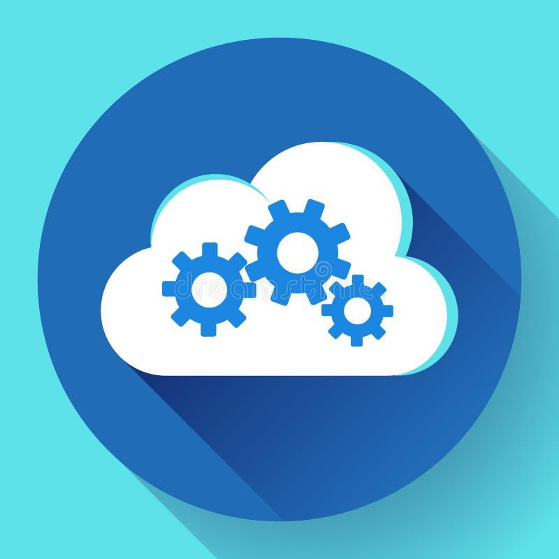 Ajustes de la nube de Logo Vector del engranaje de Logo Cloud Services Cloud Computing de la nube stock de ilustración