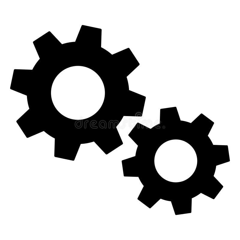 Ajustes del icono de los engranajes, para los sitios web etc de las aplicaciones móviles Ilustraci?n del vector ilustración del vector