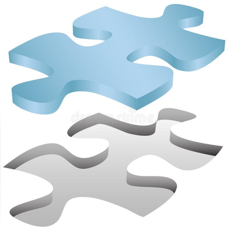 Ajustes del pedazo del rompecabezas de rompecabezas en agujero en blanco ilustración del vector