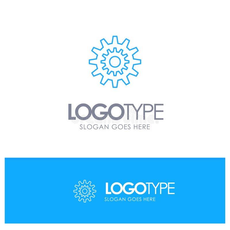 Ajustes, diente, engranaje, producción, sistema, rueda, logotipo azul del esquema del trabajo con el lugar para el tagline ilustración del vector