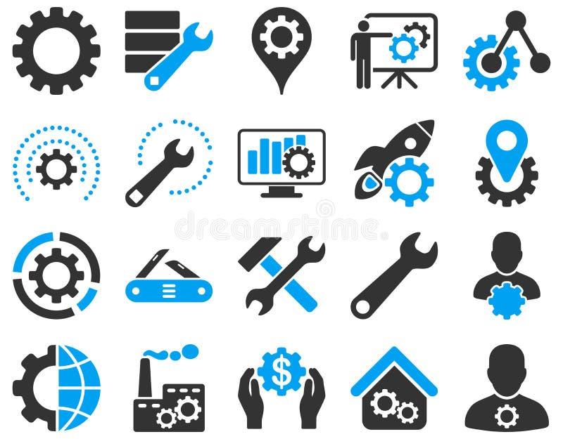 Ajustes e iconos de las herramientas stock de ilustración