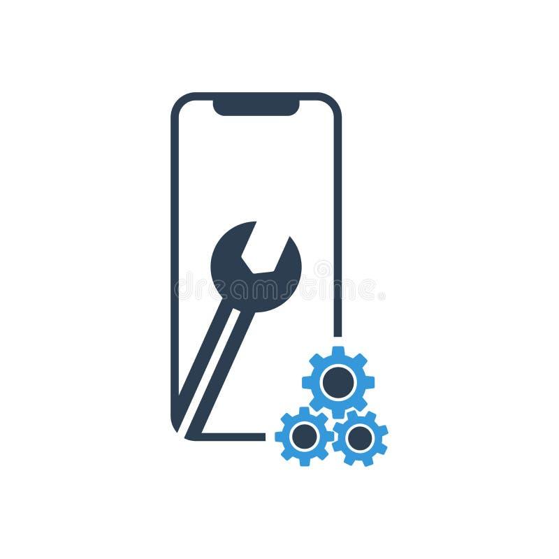 Ajustes en la pantalla del smartphone Vector del logotipo del icono de la reparaci?n del arreglo del tel?fono libre illustration