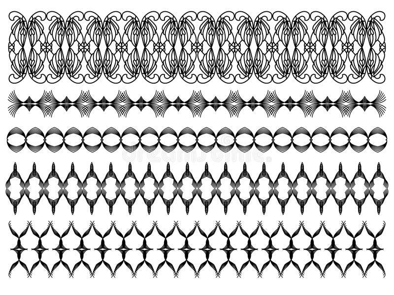 Ajustes ornamentales negros ilustración del vector