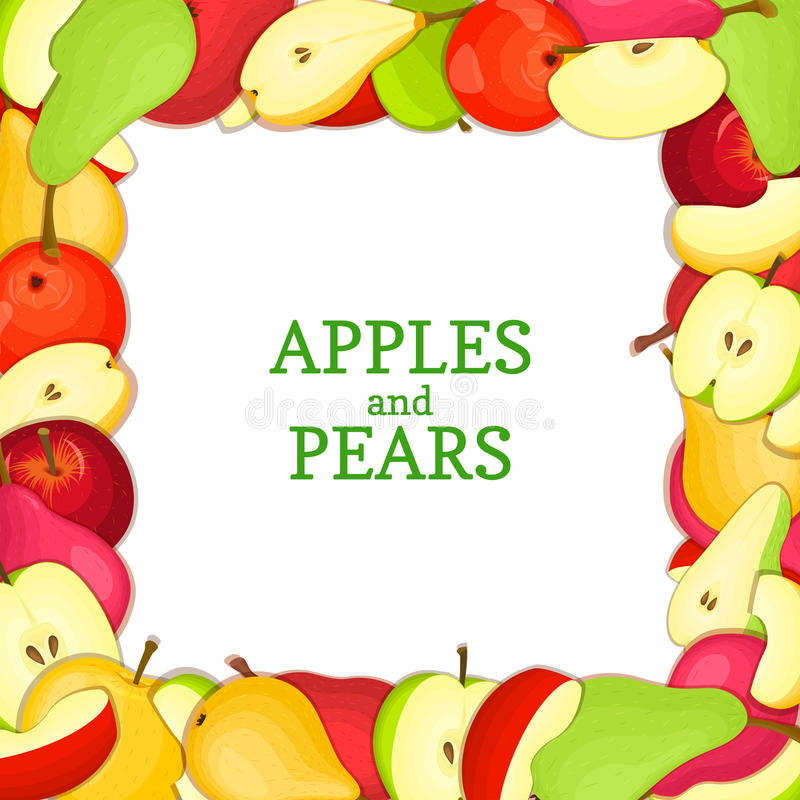 Ajustez le cadre coloré composé de fruit délicieux de pomme de poire Illustration de carte de vecteur Pommes de poires de rectang illustration de vecteur
