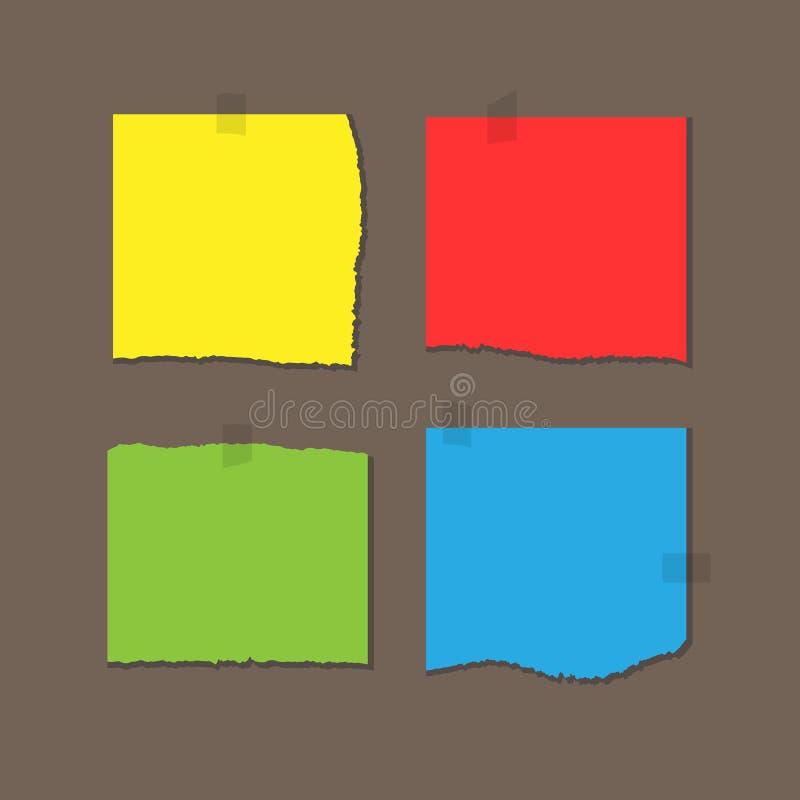 Ajustez les feuilles de papier colorées avec les bords déchirés Attaché avec le ruban adhésif illustration de vecteur