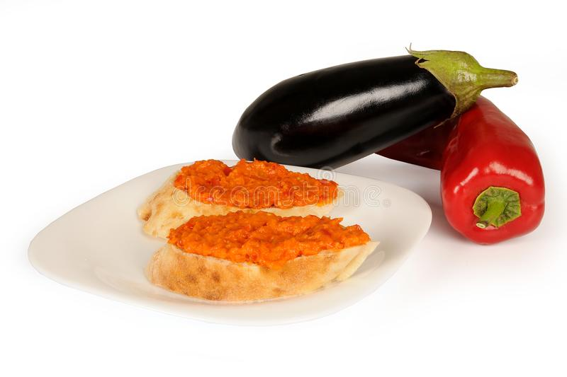Ajvar - delicious dish of roasted red peppers. royalty free stock photos