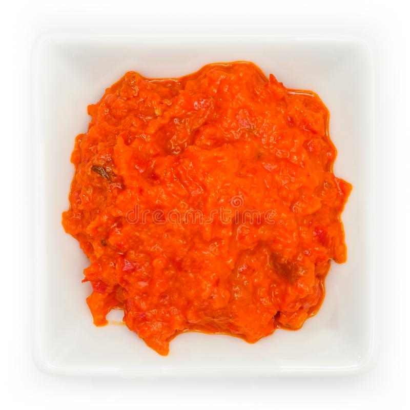Ajvar hot spicy pepper sauce in a bowl stock photo