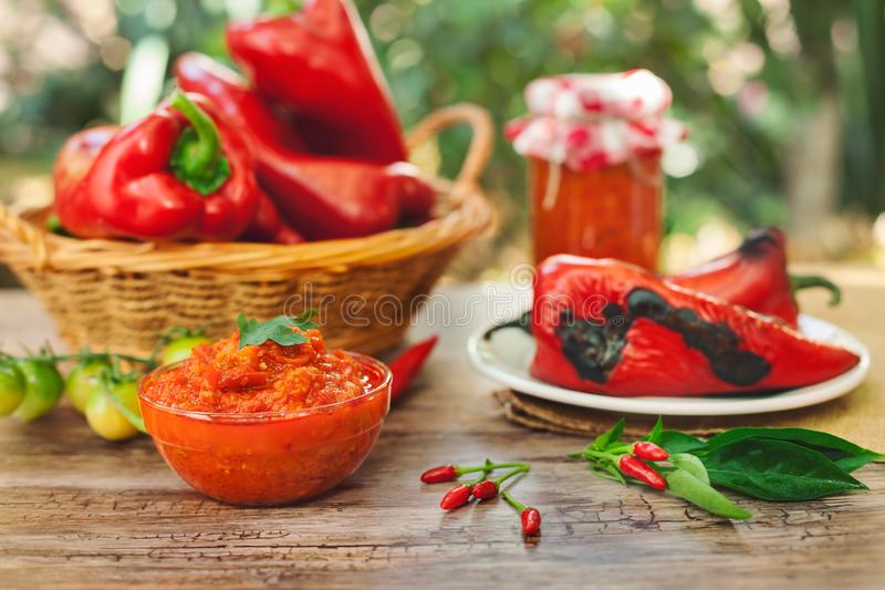Ajvar,tasty dish of roasted red peppers royalty free stock photo