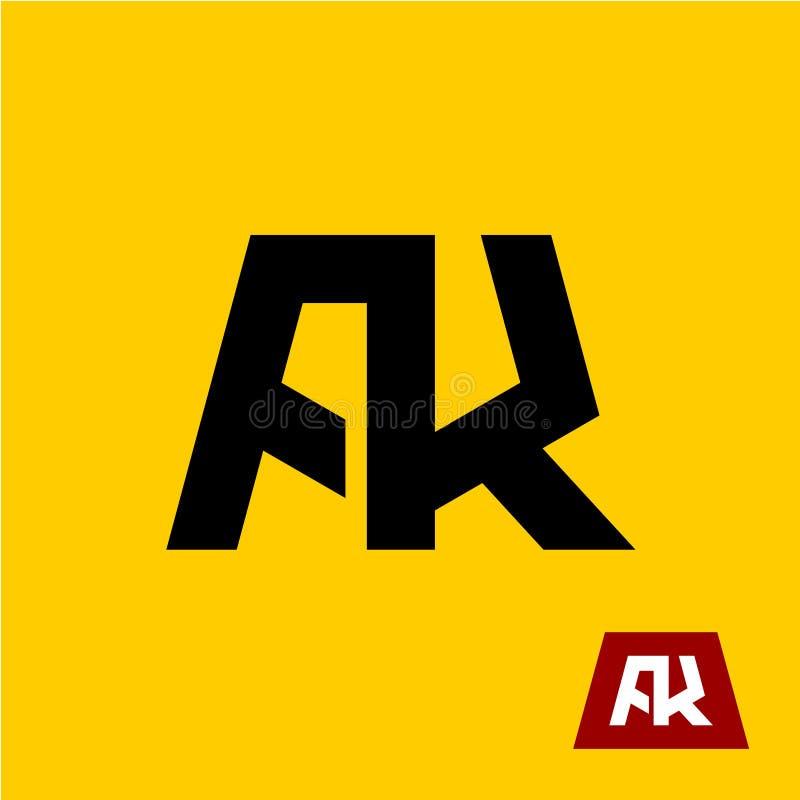 AK字母符号 A和K信件绷带 库存例证