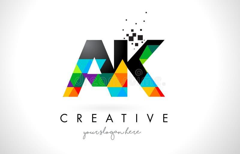 AK логотип письма k с красочным вектором дизайна текстуры треугольников иллюстрация вектора
