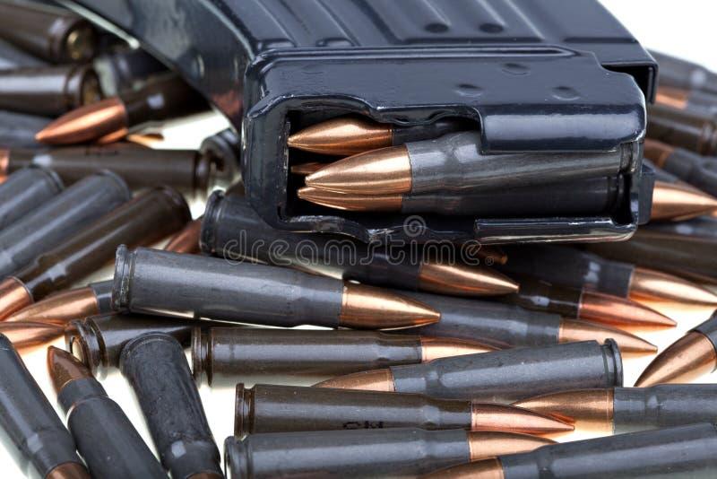 AK 47 ammo with mag. Ammo forAK 47, favorite terrorist gun stock photos