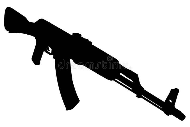 AK - 47 assault rifle black silhouette. AK - 47 (AKM) assault rifle black silhouette stock images
