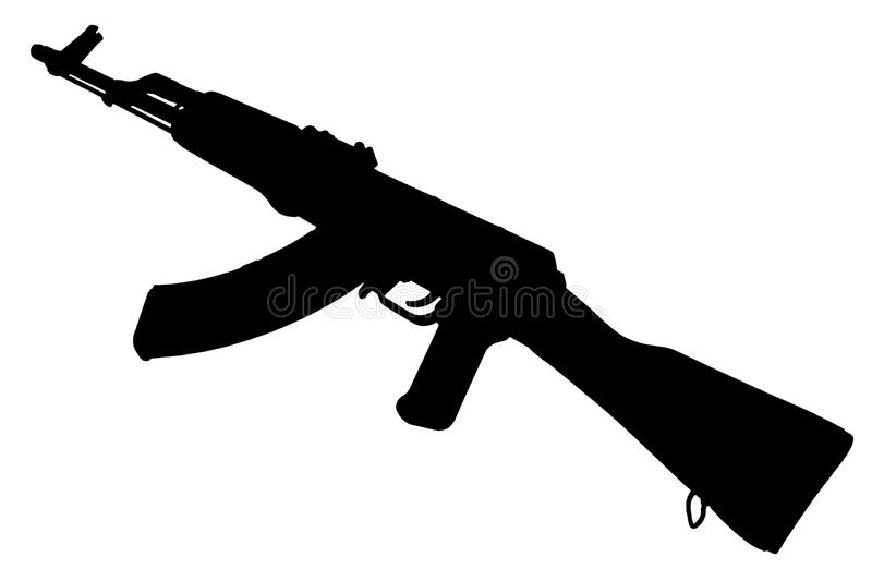 AK - 47 assault rifle black silhouette. AK - 47 (AKM) assault rifle black silhouette stock photos