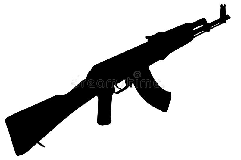 AK - 47 assault rifle black silhouette. AK - 47 (AKM) assault rifle black silhouette royalty free stock images