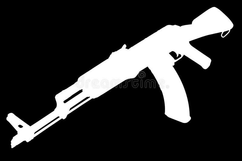 AK - 47 assault rifle black silhouette. AK - 47 (AKM) assault rifle black silhouette royalty free stock photos