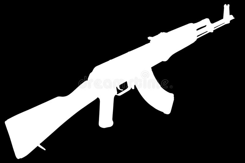 AK - 47 assault rifle black silhouette. AK - 47 (AKM) assault rifle black silhouette stock photography