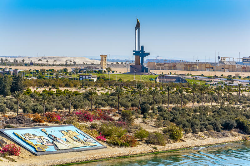 AK47 Bayonet memorial near Ismailia, Egypt. AK47 Bayonet is a memorial near Ismailia to the Egyptian soldiers who died in the Battle of Ismailia October 18-22 royalty free stock photo