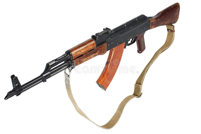 AK - 47 gevär för anfall som (AKM) isoleras på vit arkivfoto