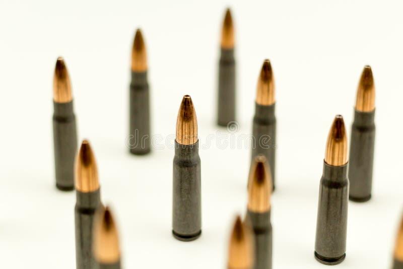 Ak-47 Holle het Puntkogel 7 van de geweerpatroon 62x39mm Hoogste Zijaanzichtmunitie Samenvatting stock foto
