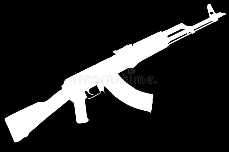 AK - kontur för svart för gevär för anfall 47 arkivfoton